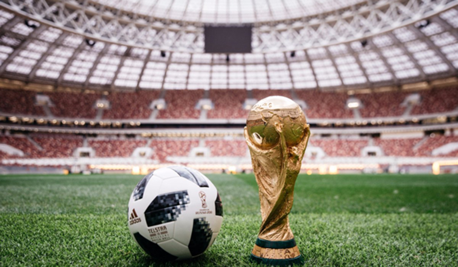 Image of World Cup trophy for article on sustainable stadiums